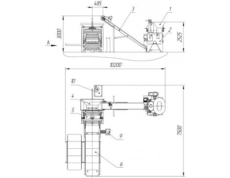 Вибропресс Рифей-Буран-2А-Б бесстеллажная схема